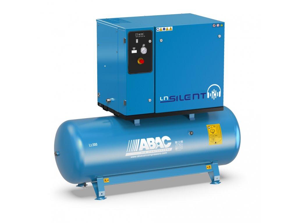 Odhlučnený kompresor Silent LN B70-7,5-500L2T  príkon 7,5 kW, sací výkon 1070 l/min, tlak 11 bar, vzdušník 500 l, napätie 400/50 V/Hz