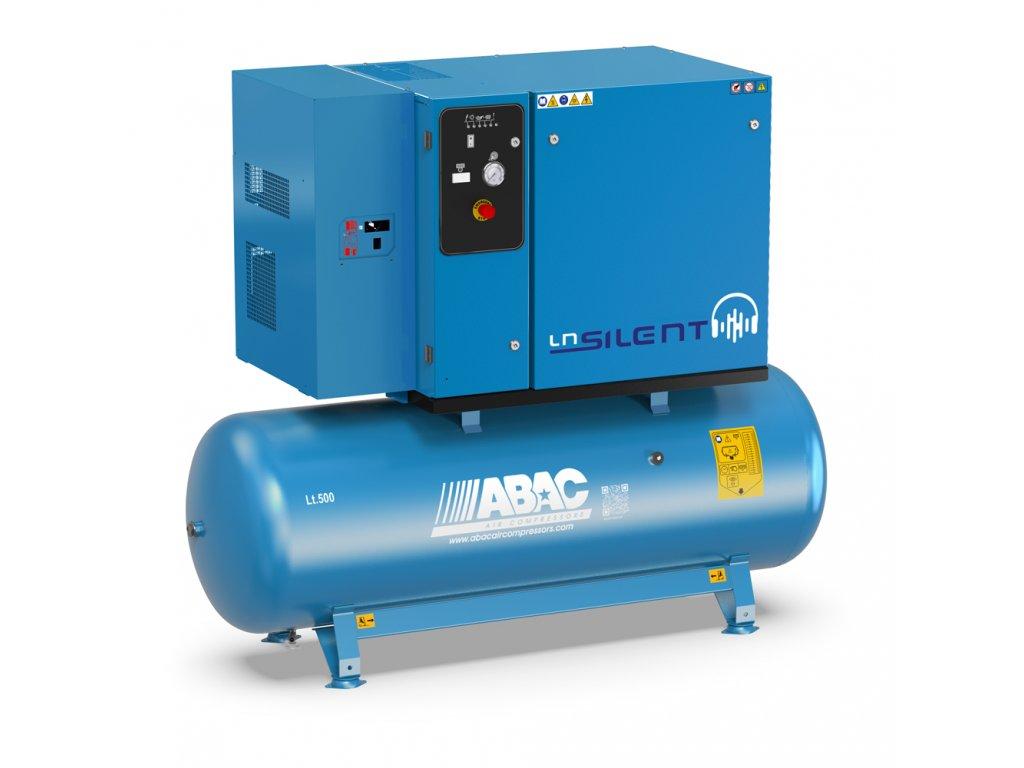 Odhlučnený kompresor Silent LN B60-5,5-500L2TD  príkon 5,5 kW, sací výkon 660 l/min, tlak 11 bar, vzdušník 500 l, napätie 400/50 V/Hz