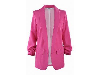 30612236936b Dámske žiarivo-ružové predĺžené trendy sako
