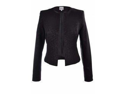 0c57d3fed2b4 Elegantné dámske čierne sako s potlačou bez zapínania