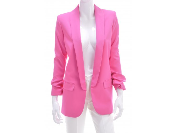Dámske žiarivo-ružové predĺžené trendy sako