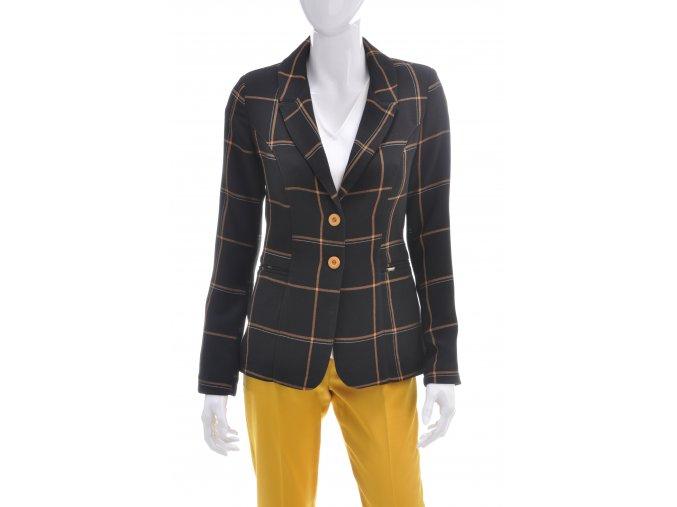 Dámske čierne sako s kockovaným vzorom