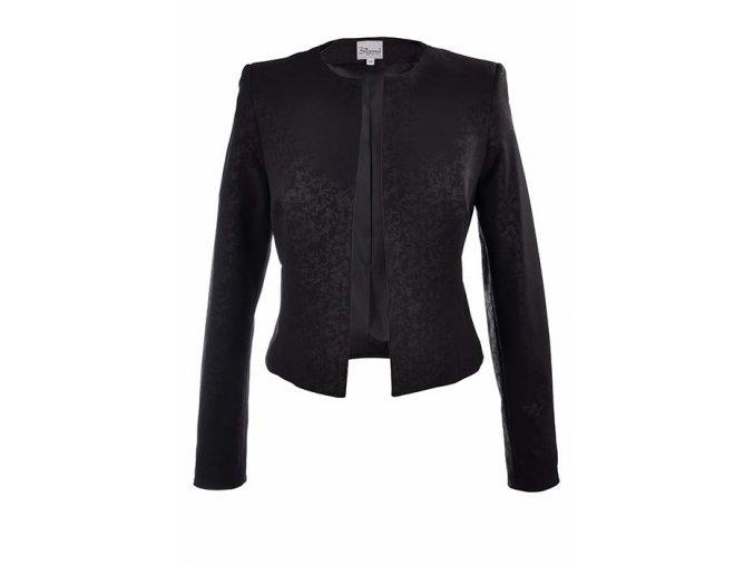 Elegantné dámske čierne sako s potlačou bez zapínania
