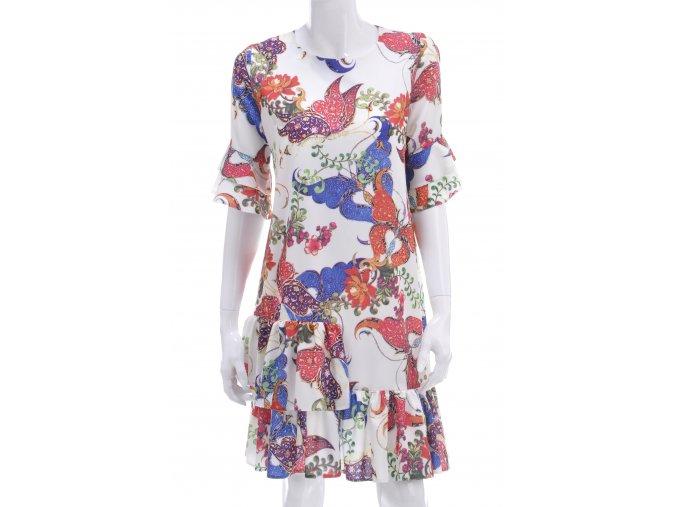 Farebné šaty s volánmi