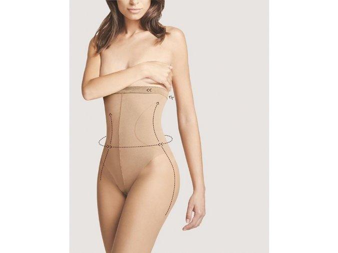 Sťahujúce pančuchy Body Care High Waist Bikini 20 DEN, Sťahujúce a tvarujúce pančuchové nohavice s vysokým pásom až po prsia. Formujú postavu - bruško. Pančuchy sú v hornej časti ukončené silikónovým pásikom, zabraňujúcim pohybu pančúch. priehľadné, sťahujúce, tvarujúce