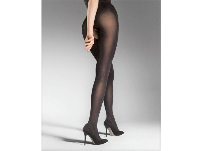 Pančuchy Ouvert 80 DEN, Exkluzívne pančuchové nohavice s rezom - otvorom v rozkroku. Hladké bez zosilnenej špičky a päty. Pančuchy sú hrubšie, matné, nepriehľadné. 86% polyamid, 14% elastan, vo farbe čierna, vo farbe šedá - metalická