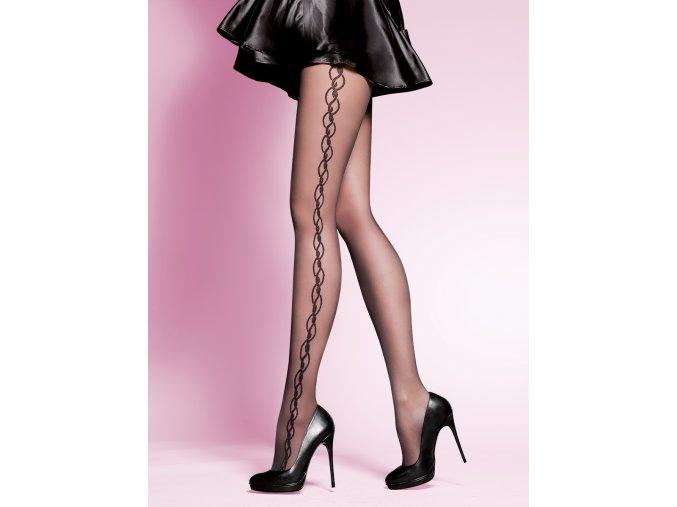 Vzorované pančuchové nohavice Suzan 20 DEN, pančuchové nohavice vzorované, priehľadné, tenšie,  vo farbe:nero (čierna), nocciola (telová), po stranách prepletaný vzor. Čierne priehľadné pančuchy s čiernym vzorom. Telové priehľadné pančuchy so vzorom v telovej farbe. Pančuchy bez zosilneného sedu , Exkluzívne pančuchové nohavice