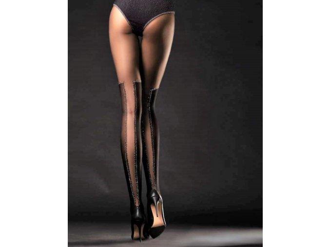 Čierne vzorované pančuchy Poison 40 DEN. Dámske pančuchové nohavice čiernej farby imitujúce nadkolienky. Silonky sú v dolnej časti hrubšie, horná časť tenšia - priehľadná. Prechod medzi dolnou a hornou časťou pančúch je predelený striebornou niťou. Pančuchy bez zosilneného sedu. V zadnej časti je priehľadný pruh lemovaný striebornou niťou.