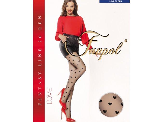 Čierne pančuchové nohavice s pravidelným vzorom - srdiečka, bez zosilneného sedu a so zosilnenou špičkou, pančuchy s plochým švom a elastickým pásom