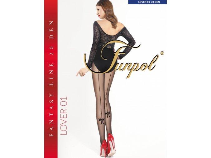 Čierne pančuchy so zadným švom Lover 01 20 DEN, pančuchové nohavice, s efektným zadným švom , ukončený mašličkou, elastický pás zosilnená špička, zosilnený sed