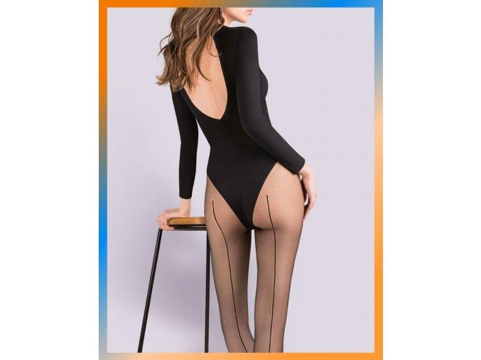 Čierne pančuchové nohavice so zadným švom LINETTE 20 DEN 116. Jemné exkluzívne pančuchové nohavice so zadným švom.Opticky predlžujú nohy a dodávajú eleganciu každej štylizácií. Pančušky v čiernej farbe sú s čiernym švom v zadnej časti.