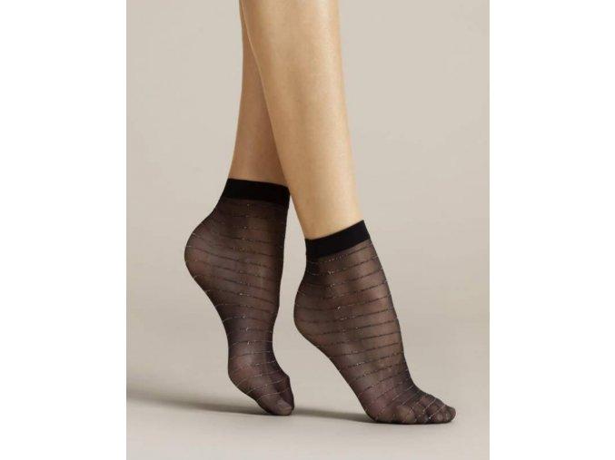 Dámske pruhované ponožky Anello 20 DEN, Dámske beztlakové ponožky vzorované. Ponožky sú priehľadné, majú pruhovaný vzor. Pruhy sú čierne so zatkanou striebornou metalickou niťou. Bez zosilnenej špičky a bez zosilnenej päty., priehľadné, tenké, vzorované, univerzálna veľkosť one size