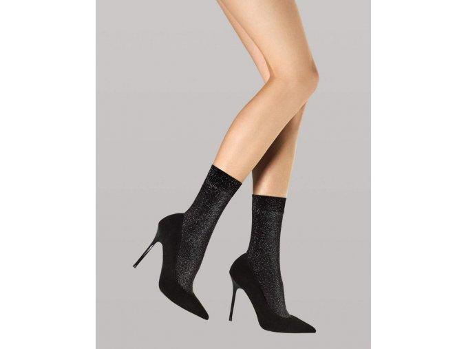Dámske metalické ponožky Dreamer 40 DEN, Dámske metalické ponožky čierne so zatkanou lurexovou niťou. Ponožky sú hrubšie, nepriehľadné. univerzálna veľkosť one size, 86% polyamid, 14% elastan