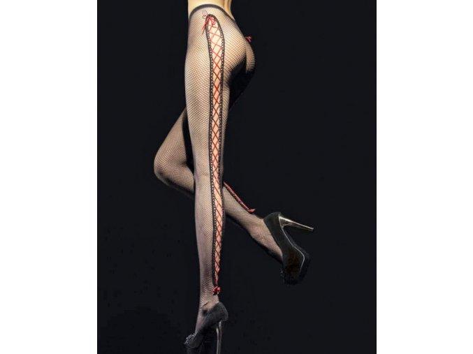 """Čierne sieťované pančuchy """"kabaretky"""" so zaujímavou červenou viazačkou v zadnej časti. Viazačka je ukončená nad chodidlom červenou mašličkou. Extravagantné pančuchy vyrobené z priadze vysokej kvality s malým vzorom sieťky. Pančušky bez zosilnenej špičky a bez zosilneného sedu. Sexy pančuchy, ktoré určite upútajú pozornosť. extravagantné, sieťované, vzdušné, moderné, S geometrickým vzorom, Sexi vzorované pančuchy, Vykrojené pančuchy"""