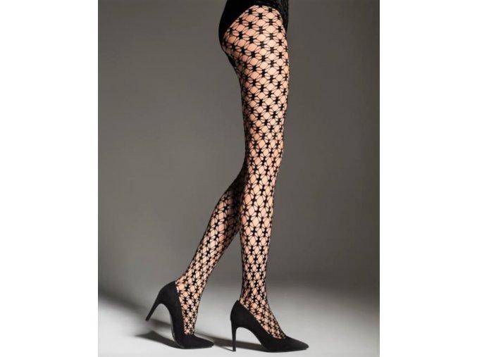 Čierne sieťované pančuchové nohavice so zaujímavým vzorom. Pančuchy sú elastické, bez zosilneného sedu a so zosilnenou špičkou. sieťované, vzdušné, moderné, S geometrickým vzorom