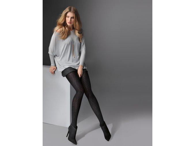 Teplé bavlnené vzorované pančuchové nohavice FLIS 60 DEN, Teplé, bavlnené pančuchové nohavice. Pančuchy sú čierne s pravidelným - šedým, jemným vzorom - kosoštvorce. vzorované, nepriehľadné, hrubšie,