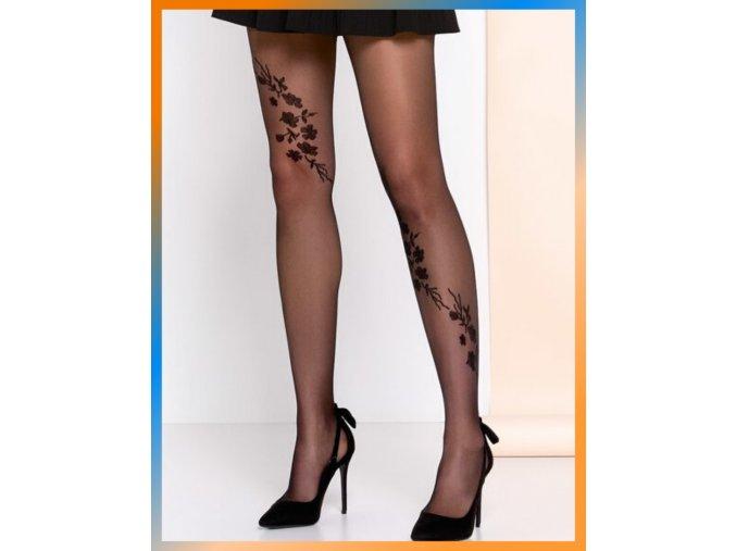 Čierne kvetinové pančuchové nohavice Helen, 20 DEN. Odvážny vzor kvetov a listov zdobiacich nohy, udáva nové módne trendy a púta pozornosť. priehľadné, tenšie, vzorované, nero (čierna)  s čiernym vzorom, 85% polyamid, 15% elastan