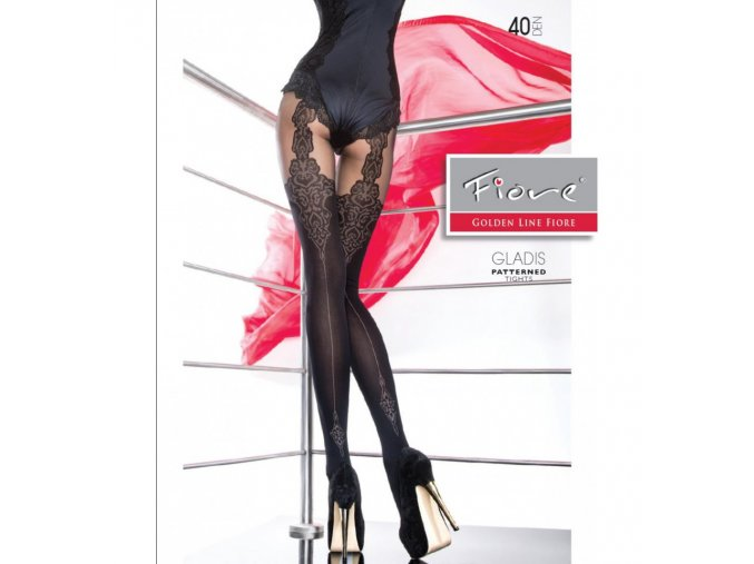 new collection fiore gladis patterned tights 40 denier mock suspender tights