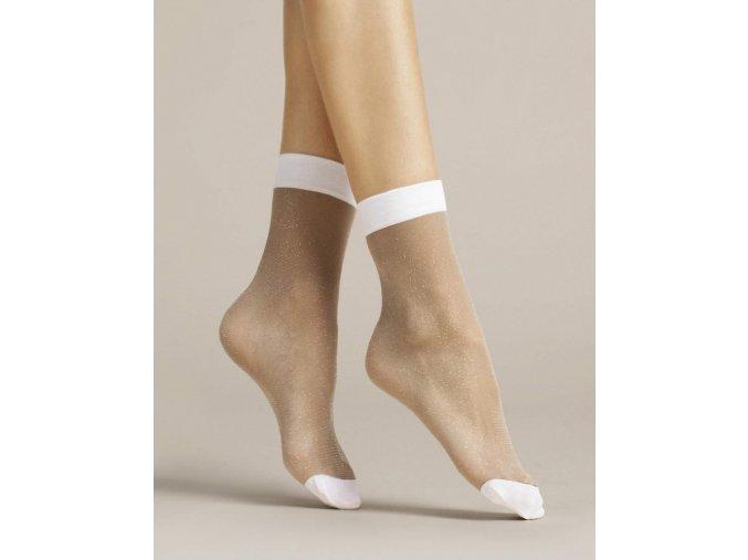 Dámske beztlakové ponožky Bianco 20 Den, Priehľadné ponožky so strieborným leskom. Špičky a gumička v bielej farbe. beztlakové, vzorované, univerzálna veľkosť one size, vo farbe: white/poudre/lurex (biela, púdrová, metalická)