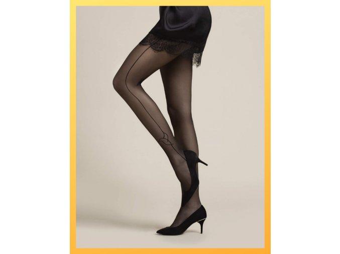 Čierne pančušky s jemným vzorom po stranách - prúžok, na kotníku listy. Pančuchy sú elastické, pohodlné, bez zosilneného sedu a zosilnenej špičky. Dámske pančuchy v ktorých určite zaujmete. 88% polyamid, 12% elastan, tenké, priehľadné, vzorované, vo farbe: black (čierna)