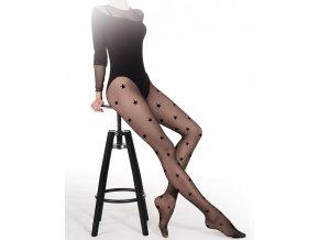 Čierne pančuchy, hviezdičky-Funny 06, 20 Den,  priehľadné, tenšie, vzorované, vo farbe: nero (čierna)čierne pančuchové nohavice, pravidelný vzor, čierne hviezdičky, bez zosilnenej špičky, bez zosilneného sedu,