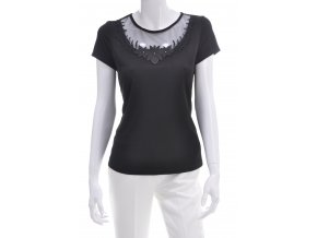 Čierne tričko s kombináciou krajky