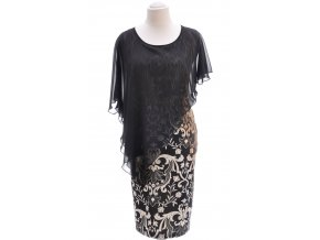 Čierne vzorované šaty s pelerínou