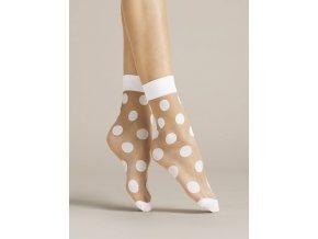 Dámske biele bodkované beztlakové ponožky Virginia 20 Den, Priehľadné ponožky s módnym vzorom - väčšie bodky. Netlačiaca gumička a zosilnené špičky. Ponožky v bielej farbe s bielym vzorom. univerzálna veľkosť one size,  vzorované
