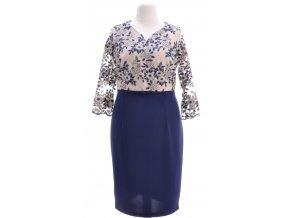 Elegantné tmavo modré šaty s krajkou