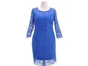 Modré krajkové šaty s podšívkou
