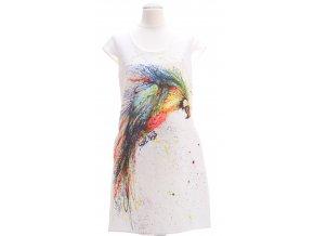 Biele šaty s farebným vzorom