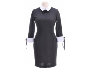 Elegantné čierne šaty s odopínacím golierom