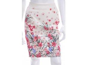 Smotanová sukňa s kvetinovým vzorom