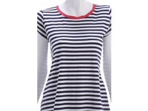 Pruhované tričko s červeným lemovaním