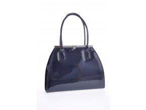 Tmavo modrá lakovaná kabelka