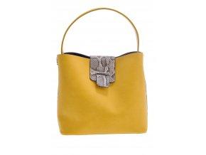Žltá kabelka s hadím vzorom