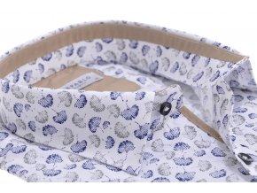 Biela košeľa s kombinovaným listovým vzorom