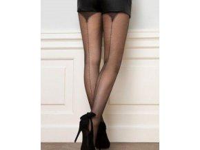Pančuchové nohavice so zadným švom Fancy 11, 20 Den, celé vzorované - mriežka,  priehľadné, tenšie, vzorované,  zdobené v zadnej časti pruhom,  bez zosilnenej špičky , zosilnený sed,  vo farbe: nero (čierna)