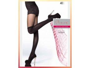 Čierne vzorované pančuchy Miguela 40 Den, Dámske pančuchové nohavice čiernej farby imitujúce nadkolienky. Silonky sú v dolnej časti hrubšie, horná časť tenšia - priehľadná. Pančuchy bez zosilneného sedu. Dokonale tvarujú nohu. hrubšie, nepriehľadné, extravagantné, moderné