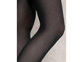 Čierne vzorované pančuchy Lorien 11, 40 DEN,  teplejšie, vzorované, elastické, pravidelný geometrický vzor, zosilnený sed, ideálne na chladnejšie dni