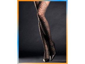 Extravagantné pančuchové nohavice so zvieracím motívom. Pančušky sú jemne sieťované so vzorom v dolnej časti imitujúce podväzkové pančuchy. Pančušky bez zosilnenej špičky a bez zosilneného sedu, vzorované, extravagantné