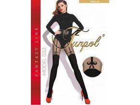 Extravagantné pančuchy Model 033, 60/20 DEN, Extravagantné pančuchové nohavice imitujúce podväzkové pásy. Pančuchy s plochým švom a elastickým pásom. Spodná časť pančúch je hrubšia - nepriehľadná, horná časť je tenšia - priehľadná, ukončená - na stehne, pásikom s mašličkou. Pančušky bez zosilneného sedu, vhodné aj pre moletky