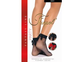 """Dámske sieťované ponožky s mašličkou Party-malé očká, Čiernesieťované ponožky typu """"kabaret""""s drobným vzorom - mriežka. V zadnej časti nad chodidlom je červená, alebočiernasaténová mašlička. V ponuke aj s čierno-striebornou trblietavou mašličkou. Bez zosilnenej špičky a bez zosilnenej päty., sieťované, tenké, vzdušné, Vyrábané vo farbe: nero (čierna)+čierna, čierna+lurex alebo červená mašlička, univerzálna veľkosť one size"""