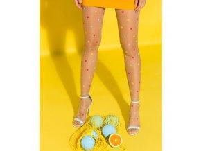 Telové bodkované pančuchové nohavice JOY 20 DEN, Odvážny vzor pravidelných farebných bodiek - ružové, žlté, sv. modré na telovom priehľadnom podklade. Pančuchy bez zosilneného sedu, Exkluzívne pančuchové nohavice, Pančuchy bez zosilnenej špičky. vzorované, priehľadné, elegantné, tenšie , vo farbe: nocciola (telová)+ farebný vzor, pančuchy na leto