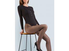 Čierne sieťované pančuchové nohavice LIZ. Sieťované pančuchové nohavice s ozdobným kosoštvorcovým vzorom. Flexibilné vlákno vyrobené z elastickej priadze. Pančuchy bez zosilného sedu, a so zosilnenými špičkami.