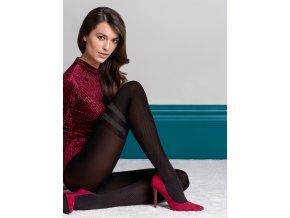 Exkluzívne pančuchy so striebornými pruhmi Kate 3D.Pančuchy Kate so vzorom z rady Fashion Collection pre chladné dni, inšpirované nadkolienkam, Od prstov do polovice stehien sú nohy zdobené vkusným geometrickým vzorom. Lesklá niť Lurex, vyniká na pozadí elegantnej čiernej alebo módnej šedej, imitujúcej trblietavý prach. Pančuchové nohavice vzorované, nepriehľadné, hrubšie, vo farbe: nero (čierna),smoky - zemitá šedo-hnedá