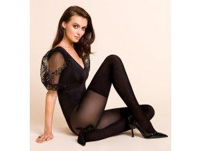 Exkluzívne vzorované pančuchové nohavice Rita 40/20 Den. Rita je bestsellerom  značky Gabriella. Model zaujme svojou eleganciou a funkčnosťou. Jemne rebrovaný úplet s prídavkom vlákien Lycra tesne prilieha k nohe a zdôrazňuje jej štíhly tvar.  Vďaka klasickej čiernej farbe pančuchových nohavíc sa budete cítiť žensky a zmyselne. vzorované, nepriehľadné, moderné, vo farbe: nero (čierna)