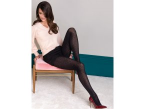 Exkluzívne pančuchy s kosoštvorcovým vzorom Monica 3D, 40 DEN, Pančuchové nohavice Monica z rady Fashion Collection pre chladné dni zdobené efektným vzorom, Geometrické tvary nepravidelných kosoštvorcov zoštíhľuje nohy. neviditeľné výstuženie v prstoch a bavlnený klin s plochým švom. vzorované, nepriehľadné, hrubšie