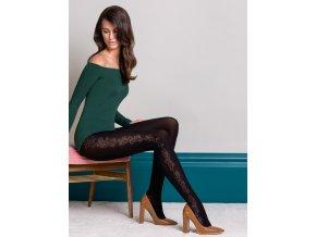 Moderné vzorované pančuchové nohavice Brenda 3D 40 den,, vzorované pančuchy Brenda z rady Fashion Collection pre chladné dni s kvetinovým motívom na vonkajšej strane nôh, Vzor predlžuje a vizuálne zoštíhľuje ženskú postavu. vzorované, nepriehľadné, hrubšie, 85% polyamid, 15% elastan