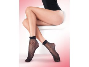 Dámske bodkované ponožky Puntina 20 den, tenké, vzorované, priehľadné, vo farbe: nero (čierna), beige (telová tmavá), bianco, ecri, pravidelný vzor - bodky, Exkluzívne priesvitné, ponožky majú bodky vo farbe ponožky,